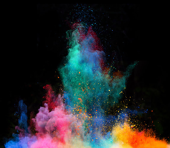 Colorful chalk explosion